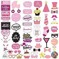 ベビーシャワー女の子写真ブース小道具–53Pieces–ベビーシャワー装飾、ギフト、Favors and Supplies for Girl–妊娠発表–Gender Revealパーティー