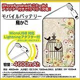 USB Type C アダプタ・Lightning アダプタ付 モバイルバッテリー 4600mAh 鳥かご ガーリー 花 ダマスク柄 とり オリジナルデザイン