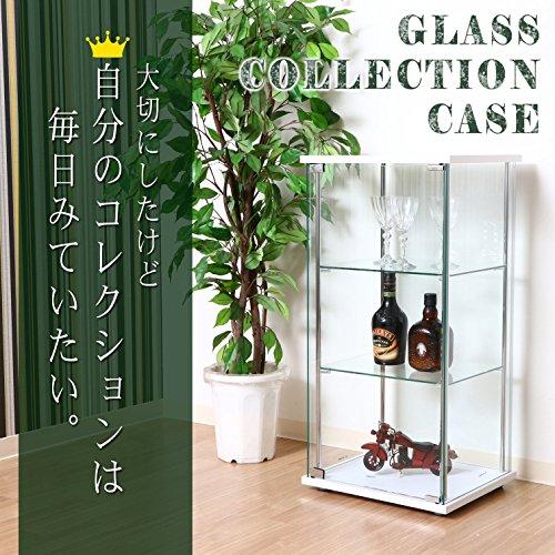 不二貿易 ガラスコレクションケース 4段ロータイプ 幅42.5・高さ120cm 背面ミラー付き ホワイト