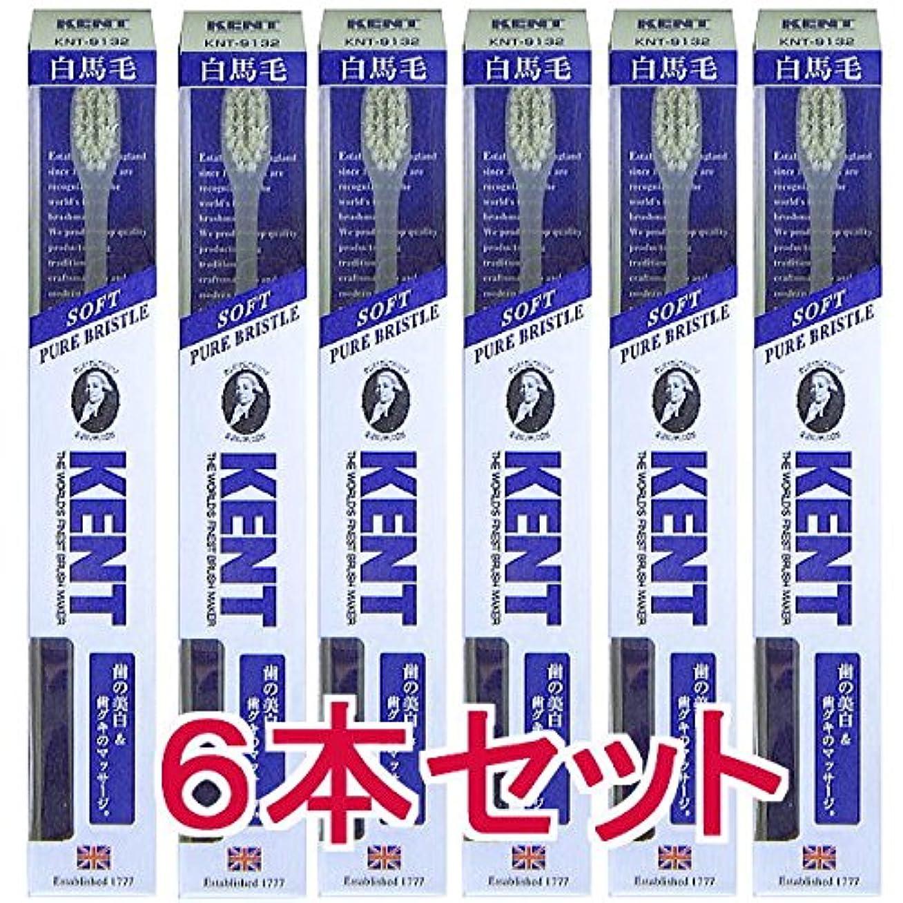 救援鉄反抗【6本セット】KENT ケント 白馬毛歯ブラシ コンパクトヘッドKNT9132 柔らかめ