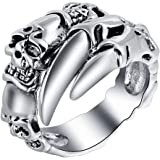 ドクロ メンズ 指輪 スカル 爪 リング ゴシック デザイン ファッション アクセサリー (エバベア)
