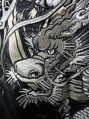 百花繚乱(ヒャッカリョウラン)龍 波 和柄 総刺しゅう リバーシブルスカジャン 黒 ブラック×赤 レッド