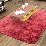 ふわふわ彩る 上質グラデーションラグ 145×185(約1.5畳) ライム 洗えるカーペット 滑り止め付 レッド色