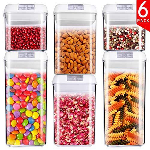 食品貯蔵タンク キャニスター 密閉 食品保存容器 ワンタッチで開閉簡単 清潔便利 積み重ね収納 BPAフリー 【6点セット 10.6×10.6×10.5cm(0.5L×2) 10.6×10.6×15.5cm(0.8L×2) 10.6×10.6×20.5cm(1.2L×2)】