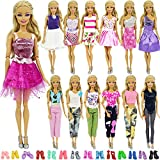 ZITA ELEMENT 11 items =3 Fashion Summer Party Wear Clothes Mini Dress +5 Pair Shoes + 3 Pcs Hat for Barbie Doll Random Style