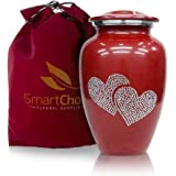 SmartChoice Urns for Human Ashes Adult Crystal Love Heart Red Cremation urn (Red)