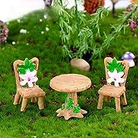 hamulekfae-ミニラブリーテーブルチェアセット樹脂工芸品ミニチュア風景の装飾品の装飾