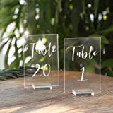 UNIQOOO Acrylic Wedding Table Numbers with Stands 1-20 | 4x6 inch Printed Calligraphy, Clear Table Number Signs and holders |