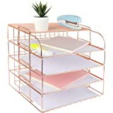 Spacrea Letter Tray, 4 Tier Rose Gold Desk Organizers and Accessories for Women, Stackable Paper Tray Organizer Desk File Org