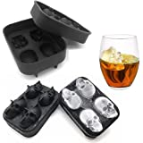 MoldFun 2-Pack 3D Halloween Skull Silicone Mold Tray for Making Ice Cube Jello Jelly Chocolate Candy Gummy Maker Soap Sugar B