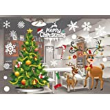 JCT Christmas Window Stickers Decorations Clings Decal Colorful Santa Removable Films Large Wall Door Mural Sticker for Marry