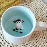 Surprise 3D Cartoon Miniature Animal Coffee Cup Mug with Baby Cow Inside - Best Office Cup & (Cow)