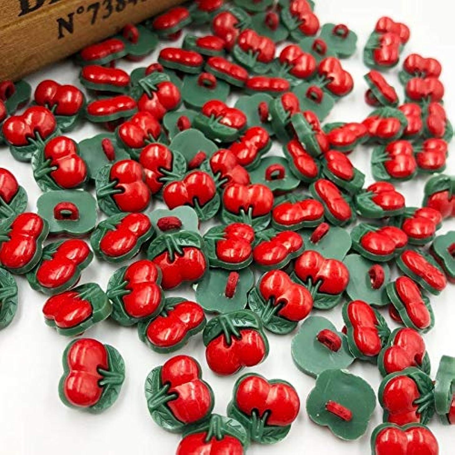 一致するギャング困惑Jicorzo - U選ぶレッドチェリープラスチックボタン縫製ボタンDIY工芸[50個]