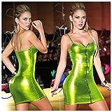 セクシー フロントジッパー ワンピース エナメル レザー調 キラキラ 光沢 パーティー ドレス (ライトグリーン)