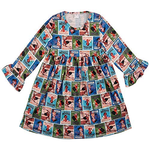 CONICE NINI Baby Girl Casual Long Sleeve Dresses Cartoon Clothing for Kids Girls Party Dresses