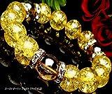 最高級5A数珠12mmブレス◆ゴールドオーラ×ゴールドクラック水晶(オーガンジーポーチ付き)【パワーストーンブレスレット】【天然石数珠】