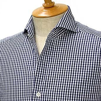 Giannetto【ジャンネット】ギンガムチェックシャツ VINCIFIT 6G26930V84 コットン ネイビー(38)