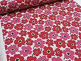 綿麻 マリメッコ風カラフル花柄小 レッド赤 キャンバス生地   北欧風 生地 布地 