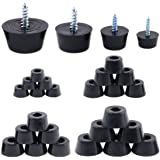 Hilitchi 40-Pcs [4-Size] Round Black Rubber Feet Bumpers Pads with Matching Screws with Built in Stainless Steel Washer for C