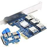 SYONCON PCIe Multiplier, PCIe Splitter 1 to 4 PCI-Express 16X Slots Riser Card, PCI-E 1X to External 4 USB 3.0 Adapter for BT