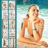 CCINEE タトゥーシール フラッシュタトゥー ネックレス ブレスレット ゴールド シルバー 防水 長持ち 10枚セット