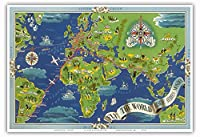 飛ぶ 世界 - R?seau A?rien Mondial (グローバルエアネットワーク) - ルート世界地図フライ - Planishpere - ビンテージな航空会社のポスター によって作成された ルシアン・ブーシェ c.1950 - アートポスター - 33cm x 48cm