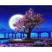 LovetheFamily 数字油絵 数字キット塗り絵 手塗り DIY絵 デジタル油絵 さくらと月 40x50 cm ホーム オフィス装飾