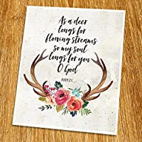 Psalm 42:1 As I deer longs for flowing streams Print (Unframed) Scripture Wall Art Bible Quote Print Church wall decor Wisdom Word Religious Quote 8x10 TC-090 [並行輸入品]