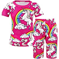 AmzBarley Two Piece Unicorn Clothing Kids Girls Costume Birthday Party Night Tee Tops Pants Casual Playwear Set 1-7 Years