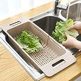MineDecor Collapsible Colander Fruits and Vegetables Drain Basket Adjustable Strainer Over The Sink for Kitchen (Beige)