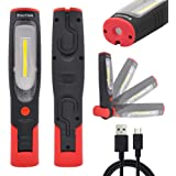 Rechargeable LED Work Light Portable Cordless LED Inspection Lamp Super Bright LED Torch Light- Front 3W COB LED and Top 3W L
