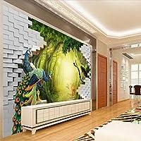 Sproud 大規模なカスタムの壁紙の美しい 3 D シークレットガーデン孔雀鹿テレビ背景 Papel De Parede Para Estar Sala 200 Cmx 140 Cm