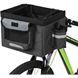 Goofly Foldable Bicycle Front Basket Removable Bike Pet Basket Pet Dog Cat Rabbit Carrier Camping Tote Bag