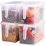 Sooyee Fridge Storage Containers Produce Saver, 4 Pack x 5L Stackable Refrigerator Organizer Keeper with Handle to Keep Fresh
