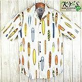 アロハシャツ メンズビンテージサーフボード柄/ホワイト ハワイ製 コットン KY'S (US Lサイズ)