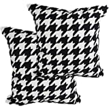 HANGSHANG Home Black Cotton Cloth Throw Pillow Cushion Cover,Traditional Scottish Houndstooth Pattern in Pastel Colors Tartan