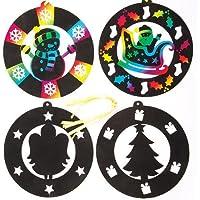 クリスマスツリー スクラッチアート オーナメント(大)(6枚入り)子どもたちの工作に