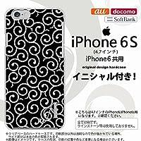 iPhone6/iPhone6s スマホケース カバー アイフォン6/6s イニシャル 唐草 黒×白 nk-iphone6-1130ini R