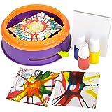 ArtCreativity Swirl Painting Kit for Kids, Magic Spin Art Machine Set with Spinning Wheel, 3 Paint Bottles, & 5 Cards, Fun Ar