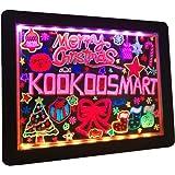Kookoosmart LED Writing Message Board, Neon Glow Drawing Board, Light Up Flashing Box Message, Erasable Board Arts and Acryli