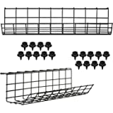 Under Desk Cable Management Tray - Under Desk Cable Organizer for Wire Management. Desk Cable Tray for Office and Home. Perfe