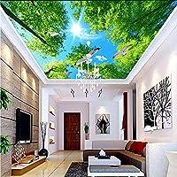 Wxmca ホームインプルーブメントグリーンツリーサンシャインハト写真の壁紙天井壁画リビングルームホテルの背景天井壁カバーフレスコ画-250X175Cm