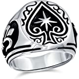 Antiqued Style Etched Good Luck Gambler Las Vegas Lucky Star Casino Elegant Black Spade Ring For Men 925 Sterling Silver