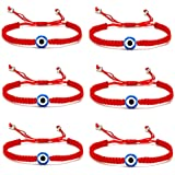 5-6 Pcs Evil Eye String Kabbalah Bracelets Hamsa Hand Hand-Woven Adjustable Red Rope Cord Thread Braided Bracelet Fatima Hand