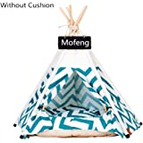 Dogs Bed Tent Green and White Zigzag Stripes Zebra Pattern Pet Kennels Pet Teepee Play House Dog Play Tent Cat/Dog Bed Remova