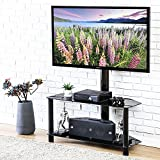 FITUEYES 2 Tiers Floor TV Stand with Swivel Adjustable Mount for 32 to 55 inch LED LCD Flat or Curved Screen TV TW209001MB
