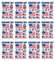 Beistle S55834AZ12 愛国心のあるステッカー 12ピース 12インチ x 17インチ レッド/ホワイト/ブルー