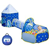 Xindinyi 3pc Rocket Ship Play Tent Astronaut Kids Playhouse with Play Crawl Tunnel and Ball Pit, Foldable Playhouse with Carr