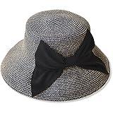 夏の紫外線対策 折りたたみ可能なUVカットできる大きいリボンのつば広帽子 000399-0015-56-