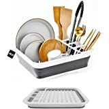 DLD Collapsible Dish Drainer with Drainer Board - Foldable Drying Rack Set - Portable Dinnerware Organizer - Space Saving Kit